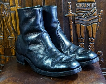 Ankle Boots Vintage 1970s Black Leather Mens Boots 8.5 Johnny Cash Style Gamblers American Beatle Boots Square Toe Chelsea Rock n Roll USA