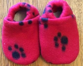 Soft-sole baby and toddler shoes, elastic heel, polar fleece, slip-on, customizable, handmade