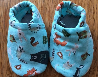 Soft sole infant to toddler shoes, woodland animals, first shoes, booties, slip on, elastic heal, slippers, customizable, baby shower gift