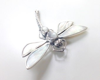 Dragonfly Brooch Pin Pendant Sterling Silver Mother Of Pearl Dragonfly Brooch Pendant