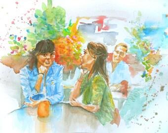 "ORIGINAL watercolor painting, NOT a print, ""Glances"""