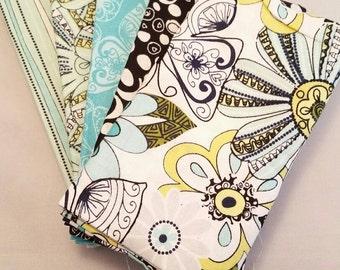 Fat Quarter Bundle, Cotton Fabric, 5 Fat Quarters including flowers and butterflies, Sewing, Quilting, Patchwork, Applique, UK Shop.