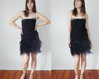 Black FLAPPER Style Dress with SEQUINS & OSTRICH Skirt, Extra Small to Small