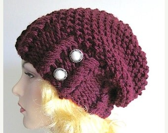 SALE Slouchy Hipster Beanie Slouch Hats Baggy Beret Pearl Buttons womens fall winter accessory Maroon Burgundy Super Chunky Knit