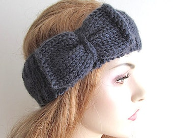 Bow Headbands Earwarmers Turban Charcoal Grey Knitted Ear Warmer Fall Winter Accessories Acrylic Wool Headcovers Womens Girls Knit Headwrap