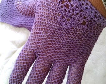 Purple Crocheted Cotton Fishnet Gloves