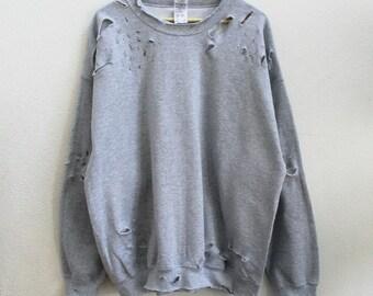 Gray Distressed Unisex Sweatshirt