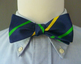 Vintage Collard Greens 100% Silk Green & Yellow Repp Stripes on Navy Blue Trad / Ivy League Adjustable Self Tie Bow Tie.  Made in USA.
