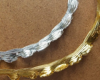 Gold or silver metallic lurex shiny frill insert trim - 7mm frilly edge, 4mm flat flange to sew in - Sold by the Metre UK SELLER