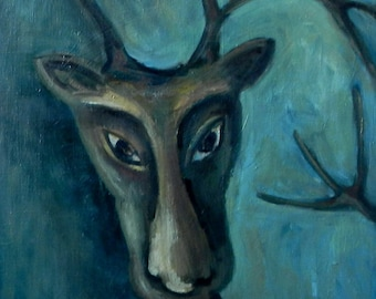 Winter deer painting.   Original one-of-a-kinde oil painting. Ready to ship.