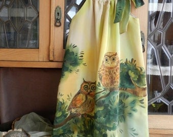Owl lovers dress . Pillowcase dress hand painted for kids. Made to order.