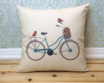 Vintage Bicycle Pillow,  Illustrated Bicycle Home Decor, Colorful Retro Bicycle
