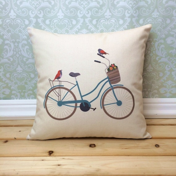 Vintage bicycle pillow illustrated bicycle home decor for Bicycle decorations home
