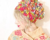 Slouchy hat Chunky hat woman Chunky beanie Thick knit hat Handspun hat Chunky beret Warm beret  Dreadlocks hat Festival hat Rainbow