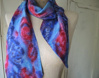 Vintage 1970s scarf abstract dreamy purple pink and blue  5 x 58 inches