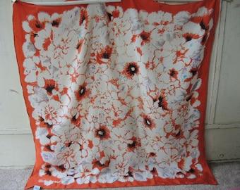vintage scarf silk floral flowers orange 33 x 33 inches