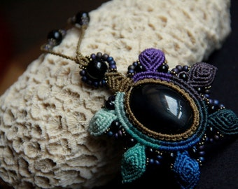Flower  mandala necklace with obsidian