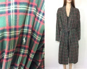 Vintage Ralph Lauren Robe with Belt Plaid Robe Cotton Pajama's Smoking Jacket Men's Small Medium Women's Large Cabin Hunter Cozy Flannel 90s