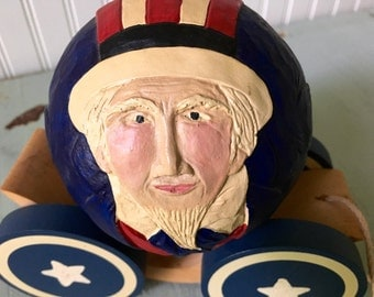 Vintage 1988 Signed BRIERE Folk Art Roly Poly Uncle Sam Pull Toy Fourth of July Americana Home Decor Decoration