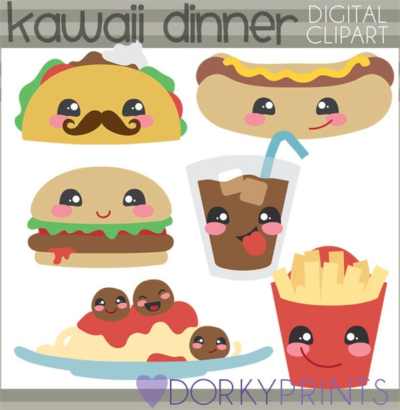 Kawaii Food Clip Art Personal and Limited Commercial Use