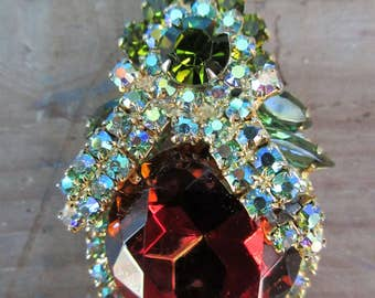 Beautiful Colorful Stone Rhinestone Brooch/Red Bow Brooch/Ladies Christmas Pin/Elegant Evening Brooch