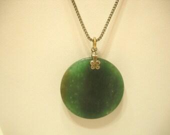 Vintage Green Stone/Agate Pendant Necklace (6523)