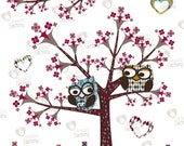 "Clip Art ""Owls with Trees, Flowers and Hearts"" 16 images of owls, trees with flowers, branch and hearts to decor bedrooms kid, cards, tags.."