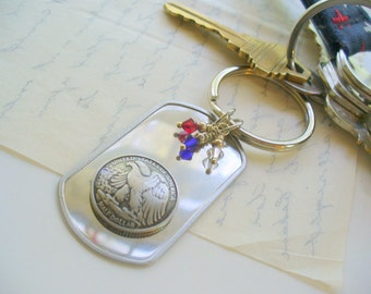 Eagle Dog Tag Keychain, Military Dog Tag, Eagle, Red, White and Blue, Key Chain, Key Fob, Purse, Bag, Key Holder, 4th of July, Forth of July
