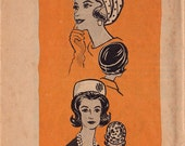 RARE 60s UNCUT Beret & Pillbox Hat Vintage Sewing Pattern - Marian Martin 9288 - Mail Order Pattern, Size 21 1/2