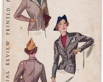 """RARE 1930's Women's Jacket Vintage Sewing Pattern - Pictorial Review Pattern 8664 - Size 34, Waist 28"""" Perforated"""
