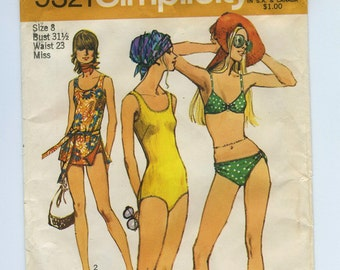 70s Bathing Suit Swim Suit Vintage Sewing Pattern - Simplicity 9321 - One and Two Piece Suits Size 8, Bust 31.5 Partially Cut