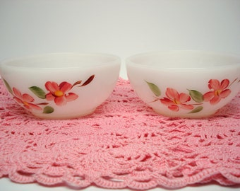 Vintage Fire King Gay Fad Bowls Set of 2 Handpainted Pink Flowers Shabby Cottage Chic
