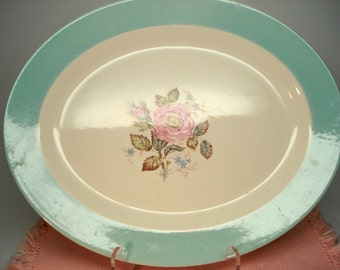 Vintage Wedding Platter Homer Laughlin Rose Pink Rose Platter Blue Border Shabby Cottage Garden Chic Floral Vintage Bridal Shower