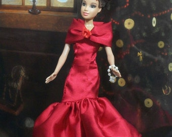 Barbie Red Satin Evening Gowns  and Accessories
