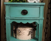 Vintage Hand Painted Nightstand in Annie Sloan Custom Mix Aqua Shippin g Not Included