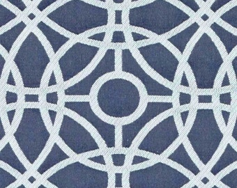 Navy Blue and White Upholstery Fabric for Furniture - Blue White Spiral Geometric Fabric - Custom Modern Geometric Pillow Cover - Navy Decor