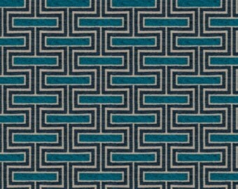 Dark Turquoise Chenille Upholstery Fabric - Navy Blue Fabric for Furniture - Turquoise Chenille Pillow Covers - Geometric Chenille
