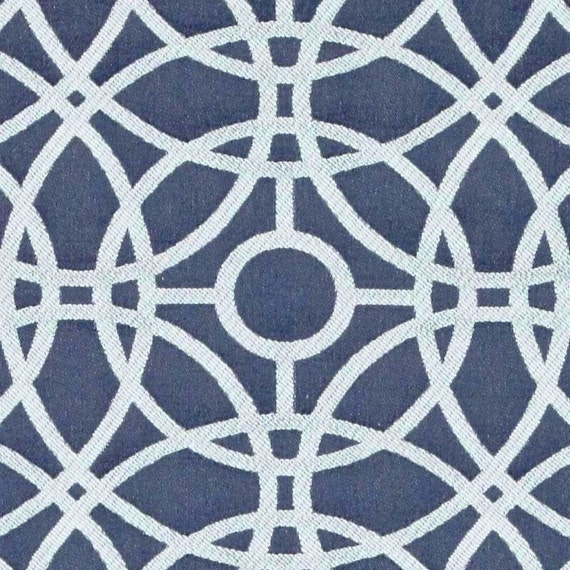 Navy Blue and White Upholstery Fabric for Furniture Blue