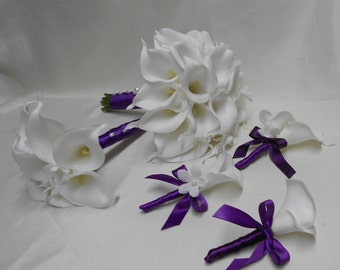 Wedding Real Touch Calla Lily Staphanotis Bridal Bouquet 18 pces Package Off White Purple Eggplant Bouquets Boutonnieres FREE SHIPPING
