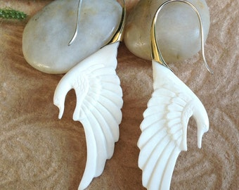 "Tribal Earrings, ""Swan Song"" Natural, Bone, Brass Tops, Sterling Silver Posts, Handcrafted"