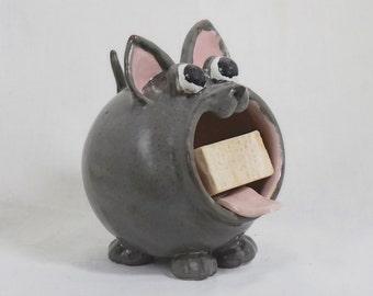Gray Cat Soap Holder, Handmade Ceramic Sponge Holder,  Hand Thrown Stoneware Pottery, Kitchen Bath Decor, Cat Decor, Pottery Soap Holder