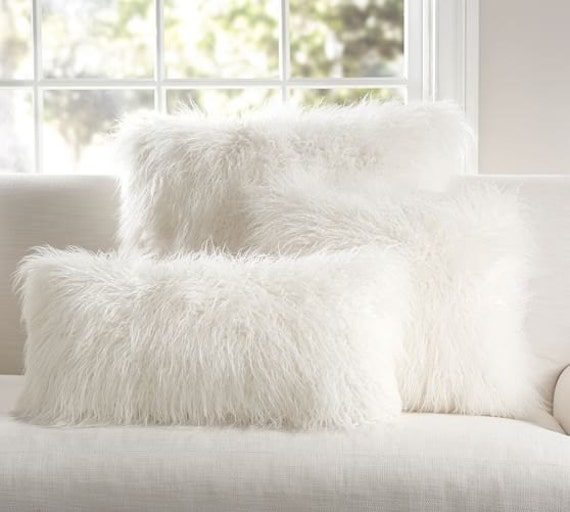 Shaggy mongolian llama faux fur pillow by nottooshaggy on etsy for White faux fur pillow