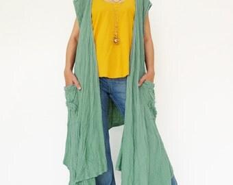 NO.199 Mint Double Cotton Gauze Asymmetrical Layered Draped-Front Vest, Women's Vest Top