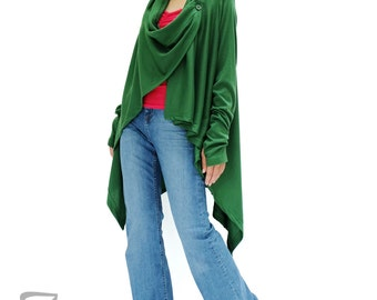 NO.61 Green Cotton-Blend Jersey Versatility Cardigan, Wrap Sweater, Wrap Top, Women's Cardigan