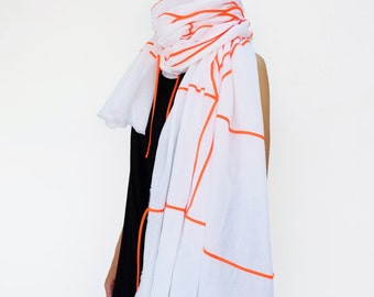 NO.1 Off White/Acid Orange Cotton Geometric Corded Striped Appliqué Over-Sized Scarf-Hand Dyed, Unisex Scarf