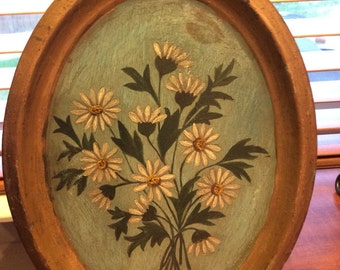 Oval metal tray painted daisies * tole painted
