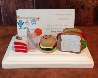 Polymer clay restaurant business card holder,polymer clay Kawaii card holder, business cards,sandwich shop,deli
