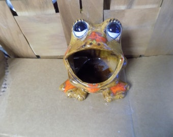 Vintage Brown/Orange Spotted Frog Scrubber/ Sponge Holder /Frog Planter