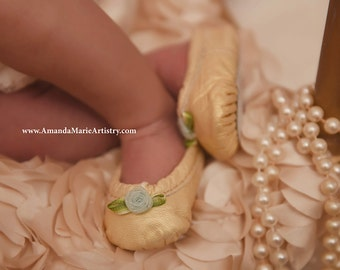Baby Ballet Slippers - pale gold with blue flower - premie newborn toddler ballet slippers