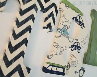 Navy Sage Green and Cream Vintage Retro Cars and Trucks Wooden Letters for Nursery or Bedroom